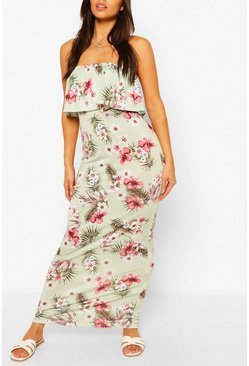 Sage green Petite Palm Bandeau Maxi Dress