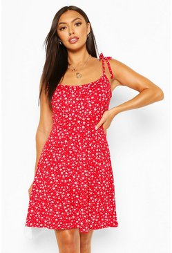 Red Petite Floral Tie Strap Skater Dress