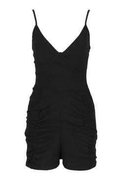 Black Petite Ruched Linen Look Playsuit