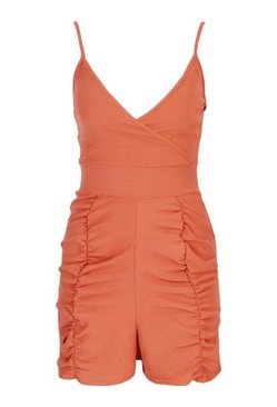Rust Petite Ruched Linen Look Playsuit