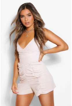 Stone beige Petite Ruched Linen Look Playsuit