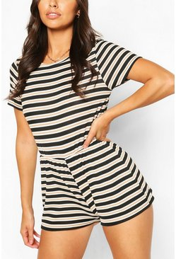 Black Petite Stripe Rib Short Playsuit
