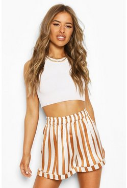 Ivory white Petite Striped Shorts