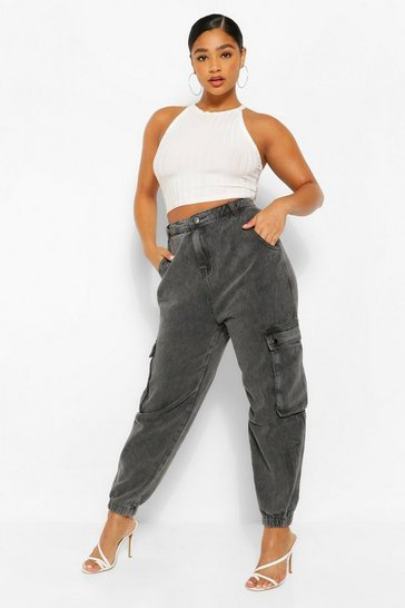 Plus Washed Black Cargo Jean
