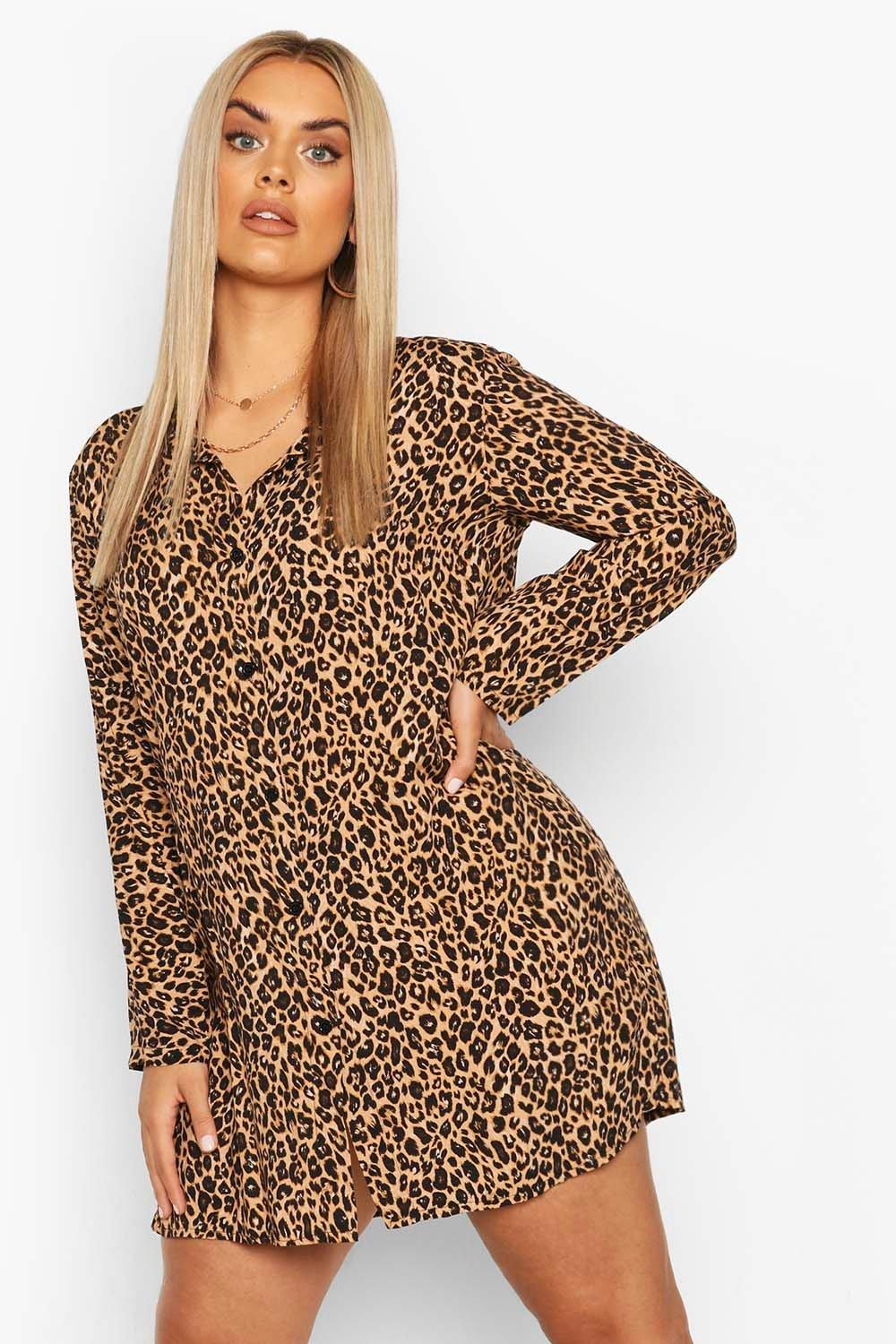 Plus Leopard Print Shirt Dress 6