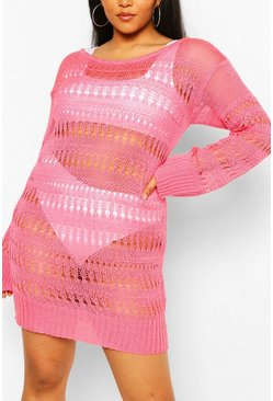 Coral pink Plus Knitted Pointelle Beach Dress