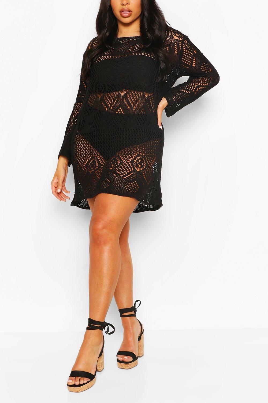 Plus Crochet Long Sleeve Beach Dress 6