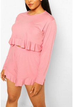 Rose pink Plus Frill Hem Short Pj Set