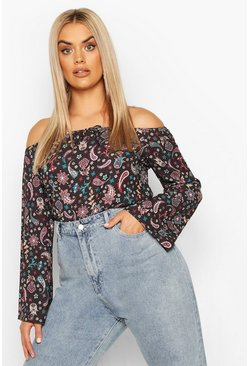 Black Plus Paisley Print Off The Shoulder Top