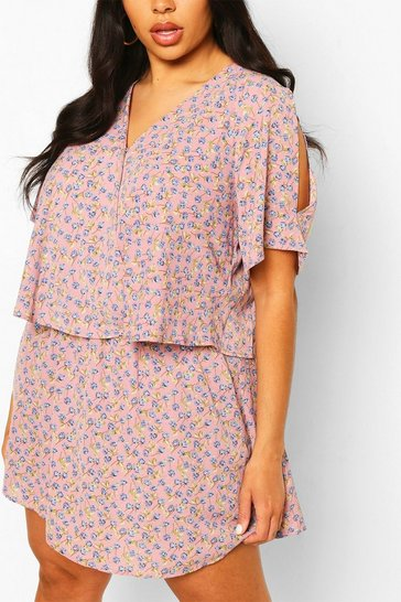 Pink Plus Ditsy Floral Open Shoulder Dress