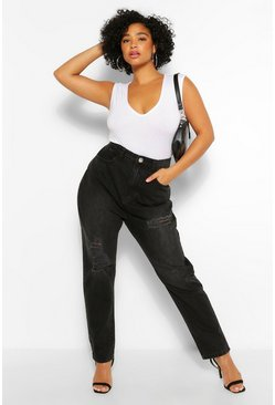 Plus Washed Black Distressed Mom Jeans