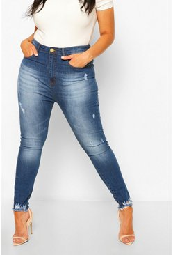 Mid blue blå Plus Super Distressed Raw Hem Skinny Jeans