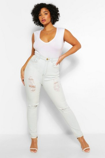 Light blue blue Plus Distressed High Waist Skinny Jean