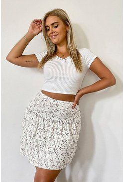 Ivory white Plus Ditsy Floral Tiered Flippy Skater Skirt