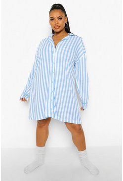 Blue Plus Candy Stripe Jersey Nightgown