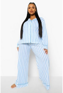 Blue Plus Candy Stripe Jersey Long Pj Set