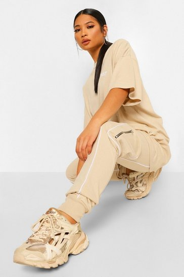Stone beige Petite Piping Front Pocket Detail Jogger
