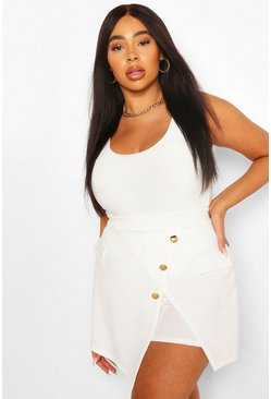 Ivory white Plus Military Button Skort