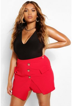 Red Plus Military Button Skort
