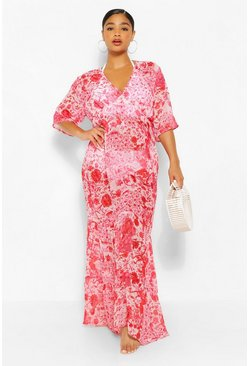 Red Plus Floral Chiffon Kimono Beach Maxi Dress