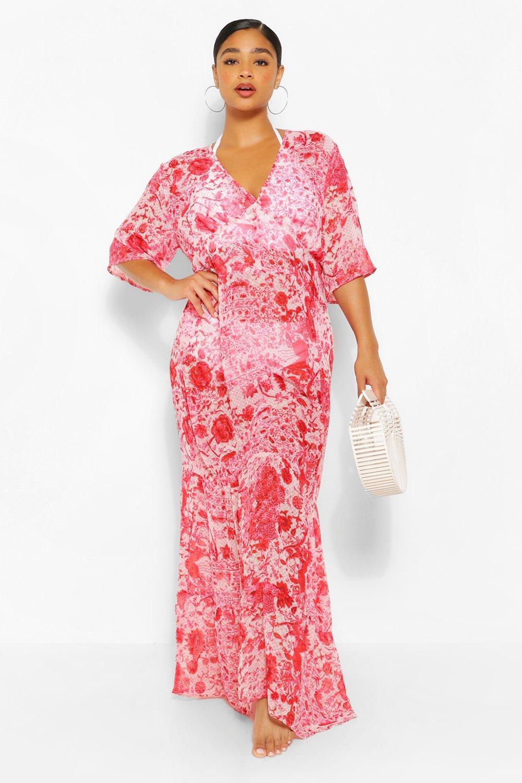 Plus Floral Chiffon Kimono Beach Maxi Dress 2