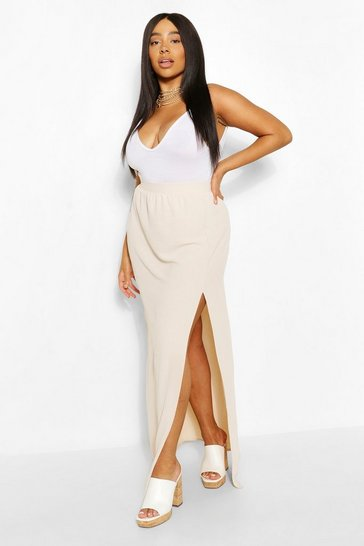 Stone Plus Linen Look Side Split Maxi Skirt