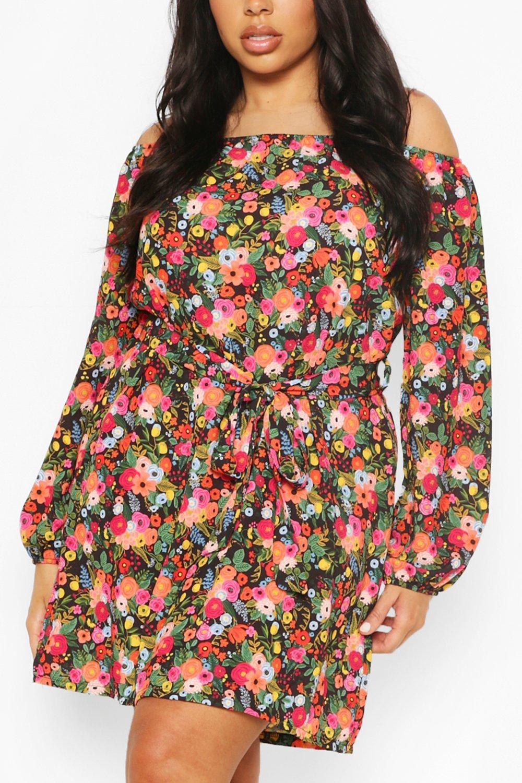 Plus Floral Off Shoulder Belted Shift Dress 2