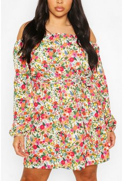 White Plus Floral Off Shoulder Belted Shift Dress