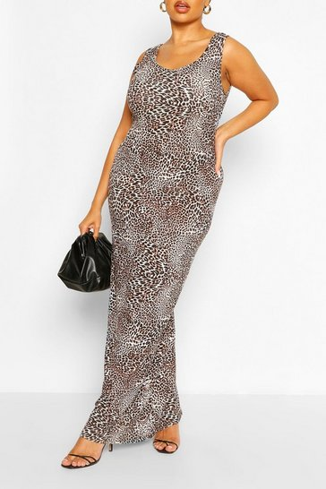 Brown Plus Leopard Scoop Neck Jersey Maxi Dress