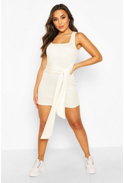 Ivory white Petite Rib Square Neck Tie Front Bodycon Dress