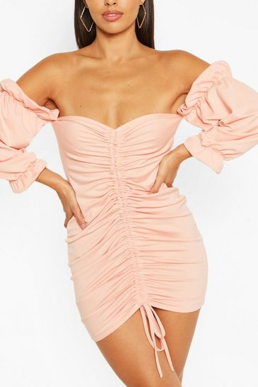 Nude Petite Ruched Front Off Shoulder Mini Dress
