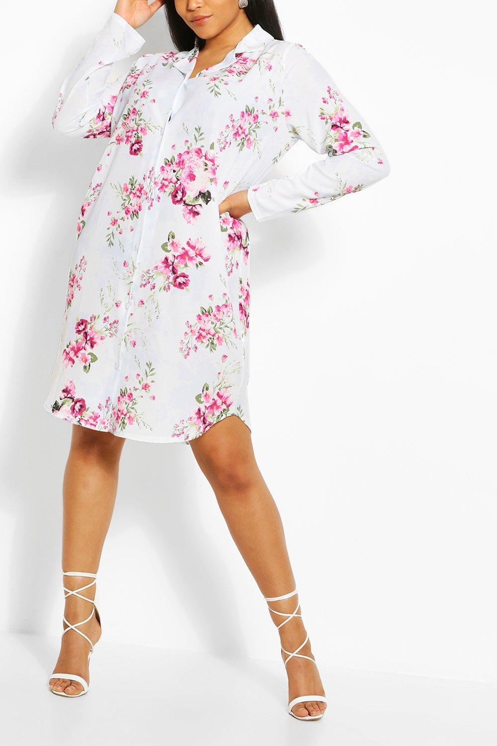 Plus Floral Print Shirt Dress 7