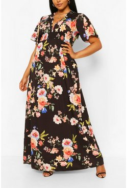 Plus Dark Floral Ruffle V-neck Maxi Dress, Black negro
