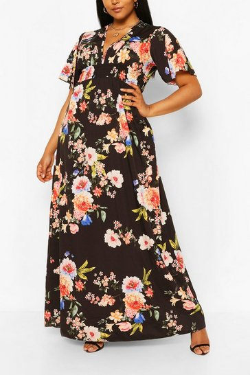 Black Plus Dark Floral Ruffle V-neck Maxi Dress