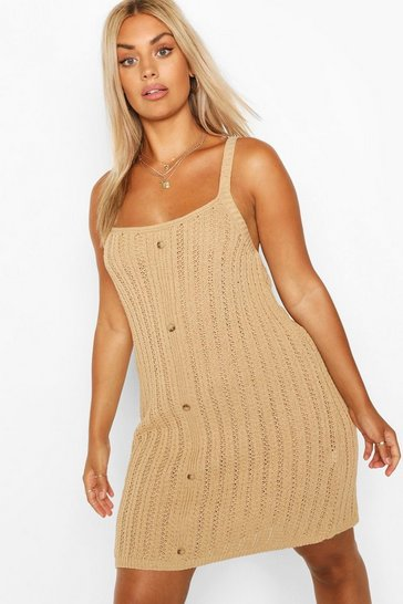 Camel beige Plus Crochet Button Down Cami Dress