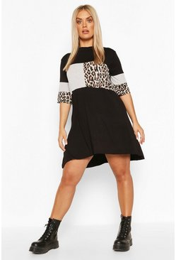 Black Plus Leopard Stripe T-Shirt Dress
