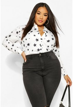 Ivory white Plus Star Print Oversized Shirt