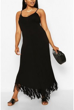 Black Plus Strappy Tassle Hem Maxi Dress