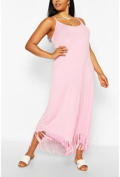 Pink Plus Strappy Tassel Hem Maxi Dress