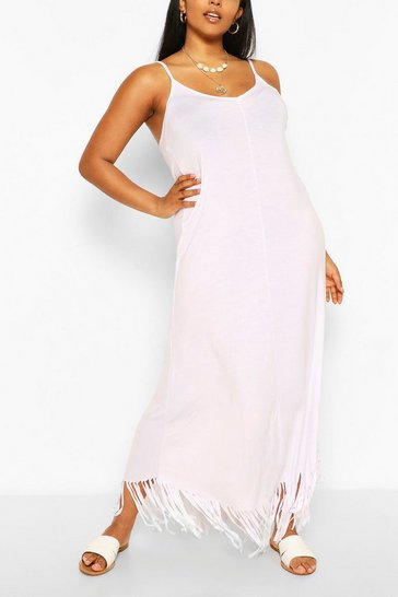 White Plus Strappy Tassle Hem Maxi Dress