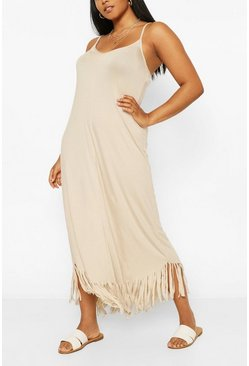 Stone beige Plus Strappy Tassel Hem Maxi Dress