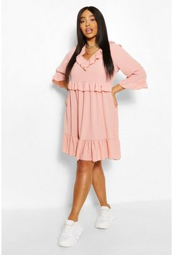Blush pink Plus Kimono Sleeve Smock Dress