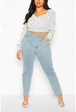 White Plus Polka Dot Puff Sleeve Top