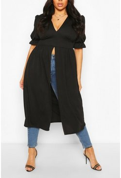 Black Plus Plunge Maxi Top