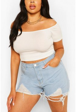 White Plus Basic Off Shoulder Short Sleeve Crop Top