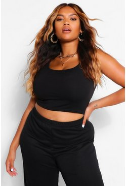 Black Plus Basic Scoop Sleeveless Crop Top