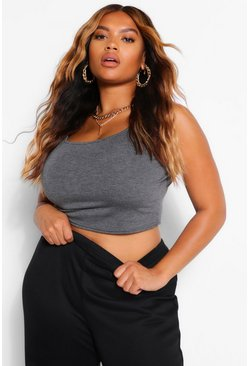 Charcoal grey Plus Basic Scoop Sleeveless Crop Top