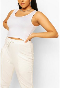 Wit white Plus Basic Mouwloze Crop Top Met Lage Ronde Hals