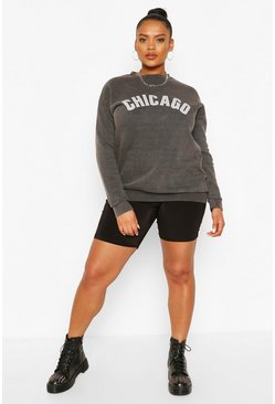 Black Plus Washed Chicago Oversized Sweat