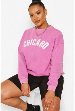 "Plus Verwaschenes Oversized-Sweat mit ""Chicago""-Print, Flieder violett"
